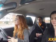 Hot threesome inside the car with ginger teen and brune
