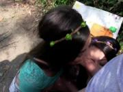 Sexy teen babes got fucked in the forest