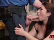 Redhead cutie banged by security guard