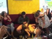 Sub sucking and gangbanging in public bar