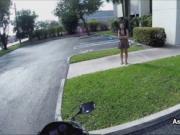 Ebony teen on bike with dildo