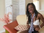 Alluring ebony rides on schlong