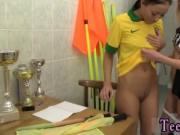 Two teen girls and teen girl Brazilian player pummeling