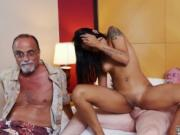 Black girl old white guy Staycation with a Latin Hottie