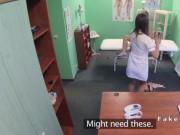 Nurse examines pussy to sexy patient