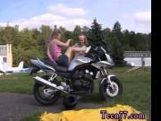 German blonde latex leggings Young girly-girl biker gir