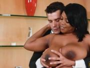 Curvy ebony tit fucked and devastated by hard white coc