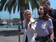 Gagged and leashed disgraced in public