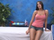 Lovely chick is massaging guys