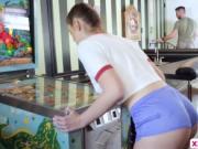 Gorgeous teen Scarlett Mae fucks while playing pinball