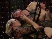 Blonde dominatrix anal fucks man