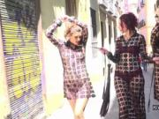 Two female slaves in femdom walked in public