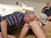 Old man fucks blonde Riding the Old Wood!