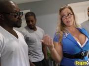 Big boobs blonde MILF got caught between two black dick