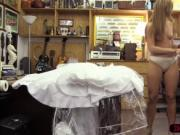 Big ass blonde woman tries to sell her dress and gets h