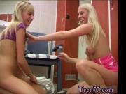 Young lesbos having joy in locker room