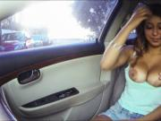 Big boobs Sarai hitchhikes and stuffed in public place