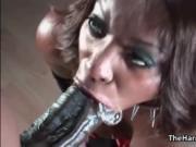 Hot ebony slut rides an hard cock with her greedy cunt
