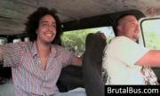 Dudes have fun in their bus