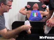 Muscled Johnny gets tickled in his pits and sole by the