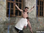 Naked men Sean McKenzie is corded up and at the mercy o