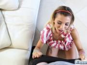 Tiny blonde Kenzie Reeves loves sucking a giant dick