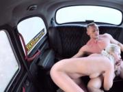 Hot female fake taxi driver hard fucks in cab