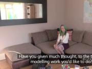 Green colored hair amateur banged in casting