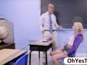 Coed Riley sucks her professors big cock