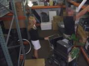 Hot blonde milf drilled at the pawnshop to earn extra m