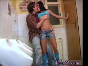 Skinny and big Debbie romped in public toilet