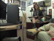 Latina cock sucker Lilith Shayton fucks in the pawnshop