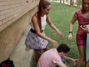 Three hot girls sharing on pervert dude