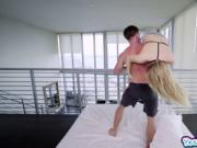 Deep throat queen rides a monster cock on top