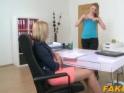 Busty babe Tracy fingering her female casting agent