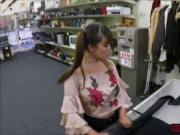 Asian babe Tiffany Rain fucks a horny pawnman for money