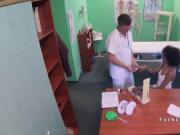 Slim ebony patient bangs doctors cock