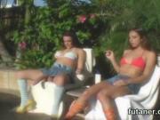 Foxy teens ream the biggest strap dildos and spray seme
