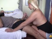 Perfectly shaped blonde having a hot anal cock ride