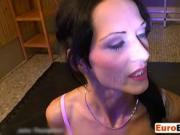 Euro Babe Gets Piss And Throbbing Cocks In Mouth
