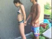 Bikini Japanese girl got fuck outdoor part2