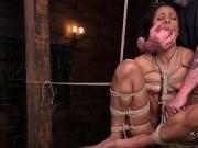 Hogtied ebony slave anal dildo fucked