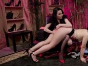 Mistress in shoes shop anal fingers Asian
