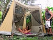 Ashley Adams gets her hairy twat banged in camping tent
