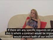 Blonde lesbian teasing female agent
