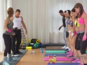 Fitness lesbians in leggings tribbing