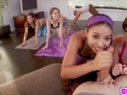 Four sluts go at it at hot yoga class with Demi Lopez