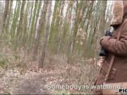 Eurobabe Sasha Zima pounded in the woods