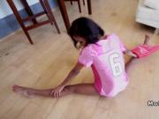Busty ebony girlfriend bangs football player