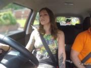 Mad inked driving student rides dick